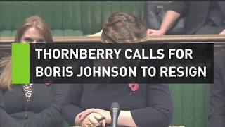 Boris Johnson loses it after Thornberry tells him to resign