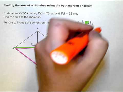 Finding the area of a rhombus using the Pythagorean Theorem (KC)
