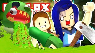 ESCAPE THE ROBLOX SUBWAY OBBY! GIANT ZOMBIE EATS US!!
