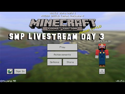 Minecraft PE Realms SMP Realms Livestream Day 3 (MCPE 0.15.1 Multiplayer)