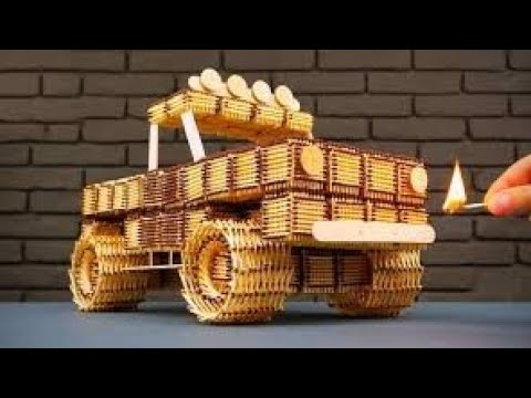 Make a small  truck  with  matches  boxes
