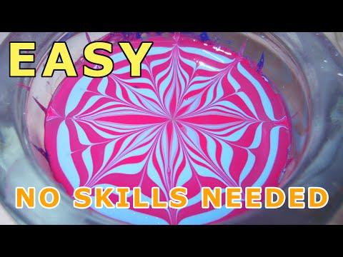 Very easy beginner water marble nail art design