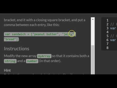 Store Multiple Values in one Variable using JavaScript Arrays, freeCodeCamp Basic Javascript