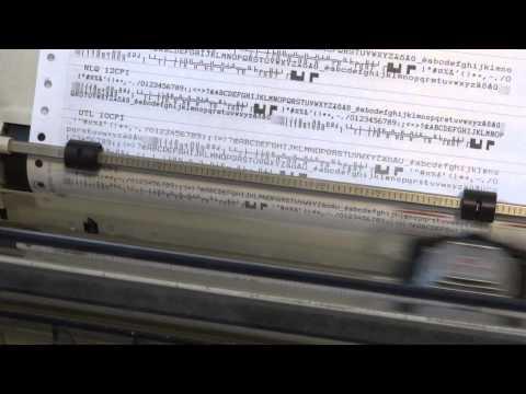 Dot matrix printer font sample printout