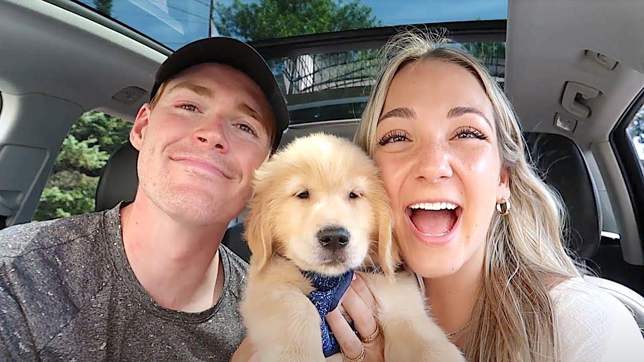 WE GOT A PUPPY   bringing home our 8 week golden retriever!!