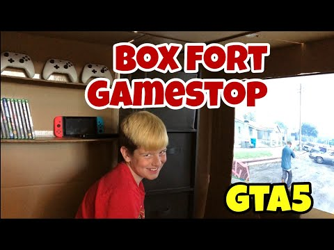 24 HOUR BOX FORT GAMESTOP STORE 📦 Kid Playing GTA 5 INSIDE Box Fort