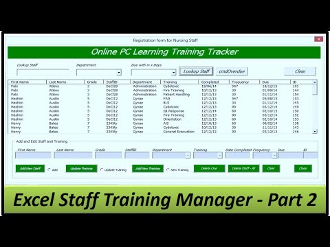 Staff Training Manager - Creating the Userform - Excel 2013 Part 2