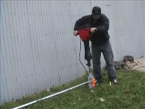 How to install chain link fence with an electric jack hammer (Oz Post ISW-850, EL1100)