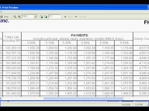 FHA Payment Chart
