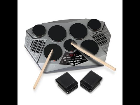 Review:  Pyle Electronic Drum Set Pad With Built in Speakers Foot Pedals