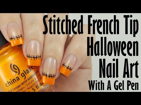 Easy Halloween Nail Art: Stitched French Tips