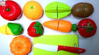 Learn Fruits & Vegetables Names with Fruit Cutting Playset Toys For Kids and Preschoolers
