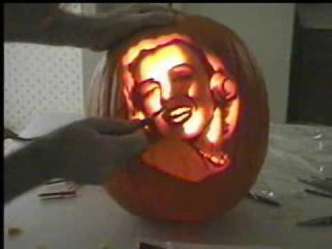 Carving a pumpkin portrait part 3 of 3