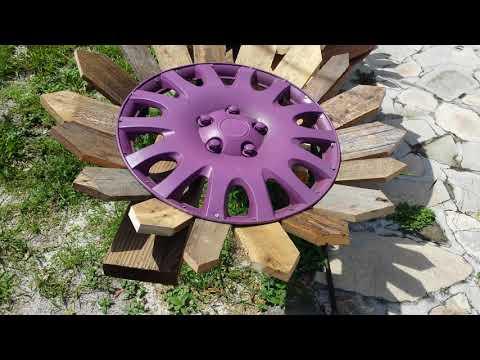 #palletwood #hubcap #flower