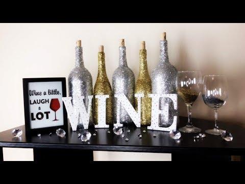 Bae on A Budget: Cheap DIY Home Decor (Glitter Wine Bottles)