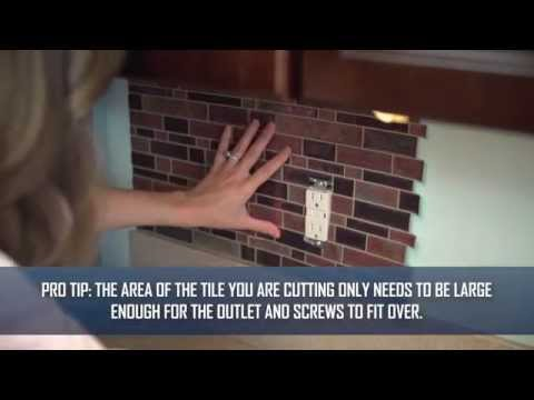 Step 4: How To Apply Peel and Stick Tiles Around An Outlet