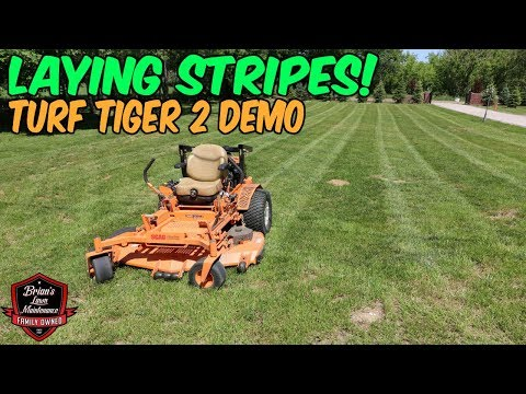 Laying Stripes And Mowing Grass With The SCAG Turf Tiger 2! Part 2 Of SCAG Turf Tiger 2 Demo.