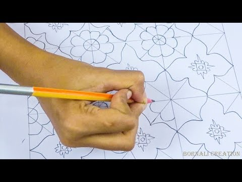 how to draw nakshi kantha design|How to Make Bangladeshi nakshi kantha design|katha drawing video