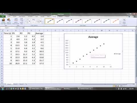 Plotting a scatter graph in excel