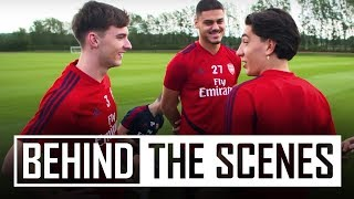 Kieran Tierney's first Arsenal training session