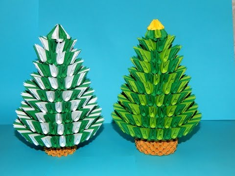 How to make 3d origami Christmas Tree (2016) part1