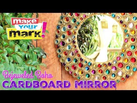Bejeweled Boho Cardboard Mirror DIY