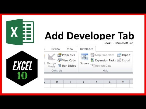 How to add developer tab in excel