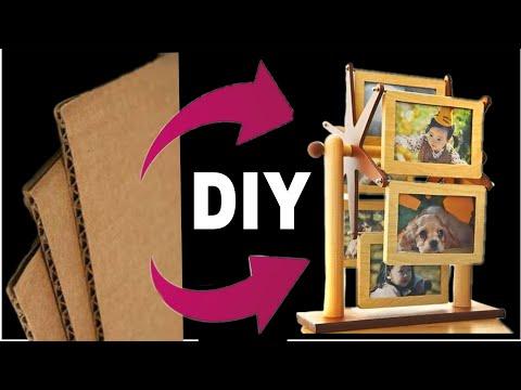 Best use of waste cardboard    Diy cardboard Rotating photo frame