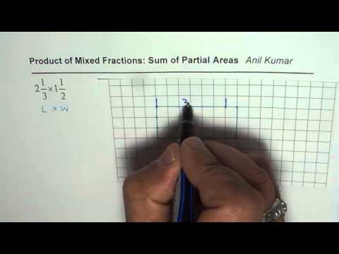 How to Find Product of Mixed Fractions With Sum of Partial Rectangle Areas
