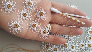 Kulak çöpuyle yapilan papatyanin ayrintili yapilisi istekler uzerine/hermosa flor/beatifull flowers