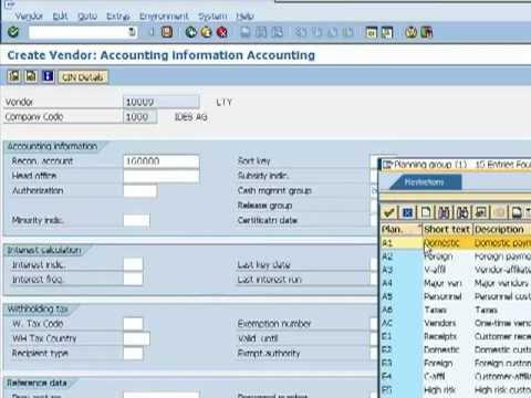 sap fi videos - vendor account creation t code fk01