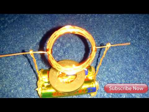 school experiments make motor in copper wire and battery with magnet