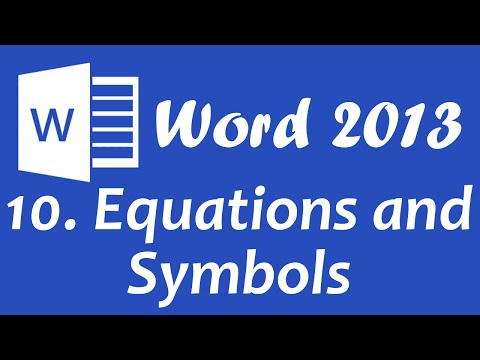 Microsoft Word 2013 - Equations and symbols tutorial