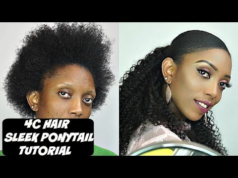 How To Do Sleek Ponytail On Short 4C Natural Hair Tutorial | Ali Annabelle