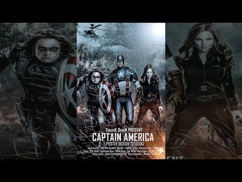 Captain America Movie Poster Design। Photoshop CC  Bangla Tutorial For Beginner