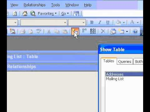 Microsoft Office Access 2003 Create a relationship between tables