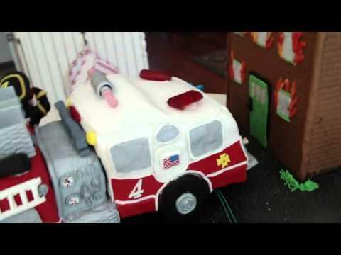 Fondant Fire Truck Birthday Cake