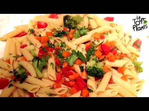 Pasta Primavera (Healthy, Vegan, Fat-Free, Oil-Free) | One Minute Recipes