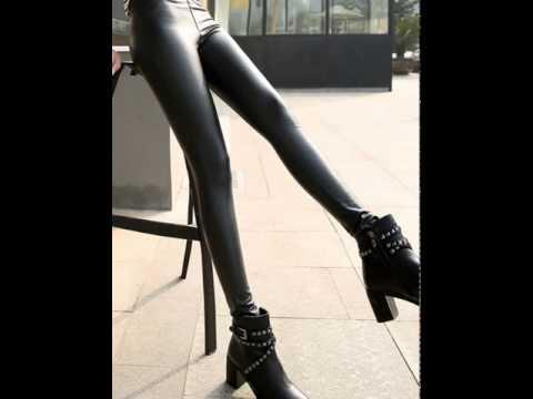 Fashion slim plus velvet high waist skinny feet leather pants.avi
