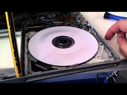 Macbook Pro testing Superdrive CD and DVD wide open
