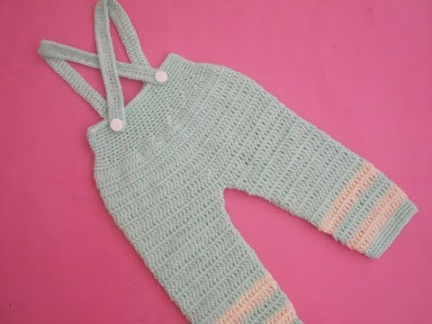 How to crochet an easy baby romper / pant with suspenders tutorial 2