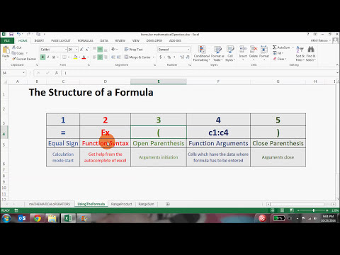 Excel Basic Formulas and Functions  The Excel function structure
