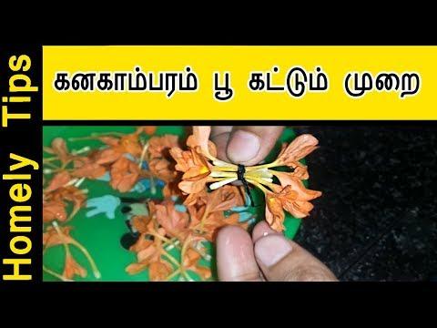 கனகாம்பரம் பூ கட்டும் அழகு முறை kanagamaram flower tie tips - Flower tying tips