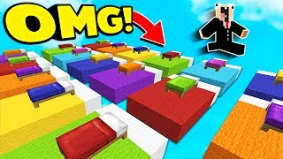 INSANE RAINBOW BED CHALLENGE! (Minecraft BED WARS)