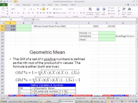 Excel 2010 Statistics #29: Means: Weighted, Trimmed, From Grouped Data, Geometric Mean