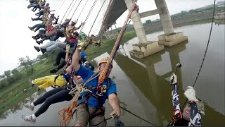 245 people set mass bungee jump record in Brazil