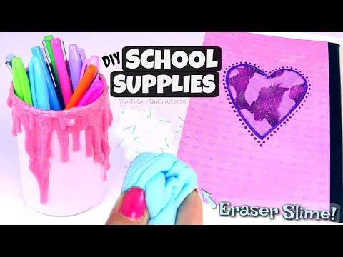 SLIME SCHOOL SUPPLIES : Eraser, Liquid Notebook, & Pencil Holder - Back To School | SoCraftastic