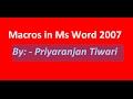 Macros in ms word 2007 hindi