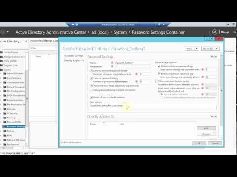 Creating fine grained password policies in Server 2012