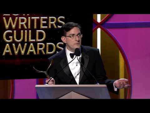 Arrival's Eric Heisserer accepts the 2017 Writers Guild Award for Adapted Screenplay